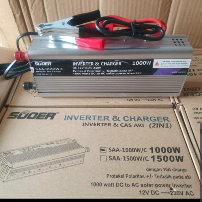 Foto Produk SUOER Inverter 1000w+charger 10A/Cas Aki SAA-1000W/C (Inverter 2 in 1) dari Ichelle Store