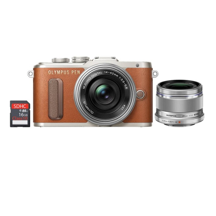 harga Olympus pen e-pl8 kit lens 14-42mm ez + lens 25mm f1.8 - brown Tokopedia.com