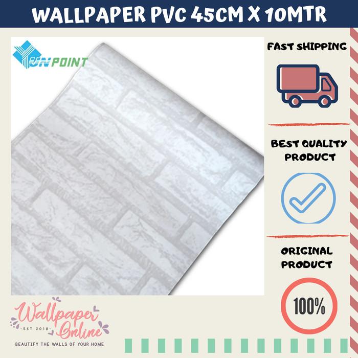 Jual Wallpaper sticker 45cm x 10mtr - bata putih list soft
