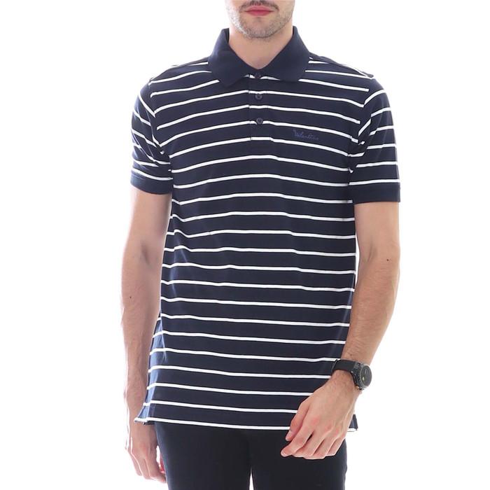 Valentino Motif Garis Kaos Polo Pria - Navy, White - NAVY