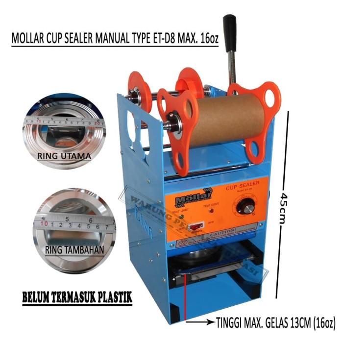 harga Mollar cup sealer manual alat pemanas pres tutup gelas et-d8 max 16oz Tokopedia.com