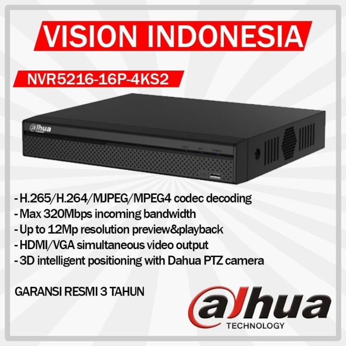 harga Dahua nvr 16ch full poe nvr5216-16p-4ks2 garansi 3 tahun / up to 12mp Tokopedia.com