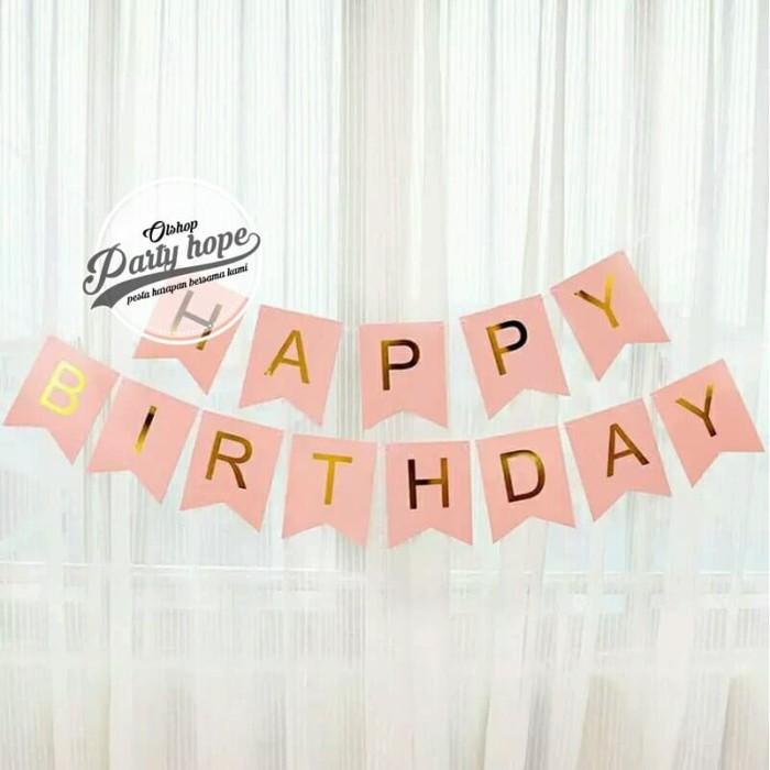 Foto Produk Banner happy birthday / bunting flag ulang tahun pink tulisan gold hbd dari PARTY HOPE 2