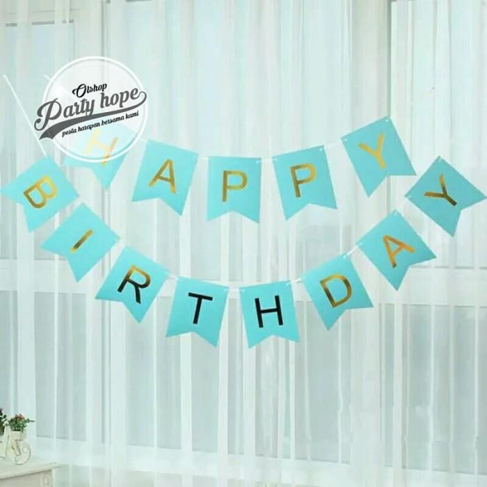 Foto Produk Banner happy birthday / bunting flag ulang tahun Biru tulisan gold hbd dari PARTY HOPE 2