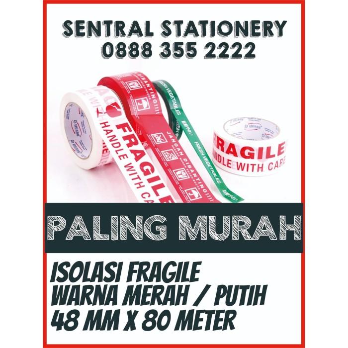 Foto Produk LAKBAN FRAGILE MUDAH PECAH JANGAN DIBANTING MERAH / PUTIH TER MURAH - Putih dari Sentral Stationery