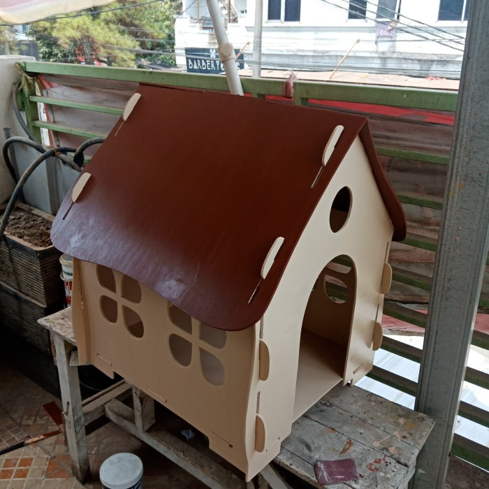 Kandang Rumah kucing kelinci anjing kayu 50X42X60cm