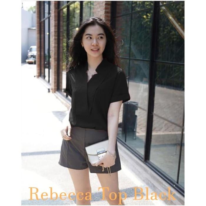 Foto Produk [Rebecca Top Black BC]Blouse wanita twiscone hitam dari FASHIONISTA's GROSIR