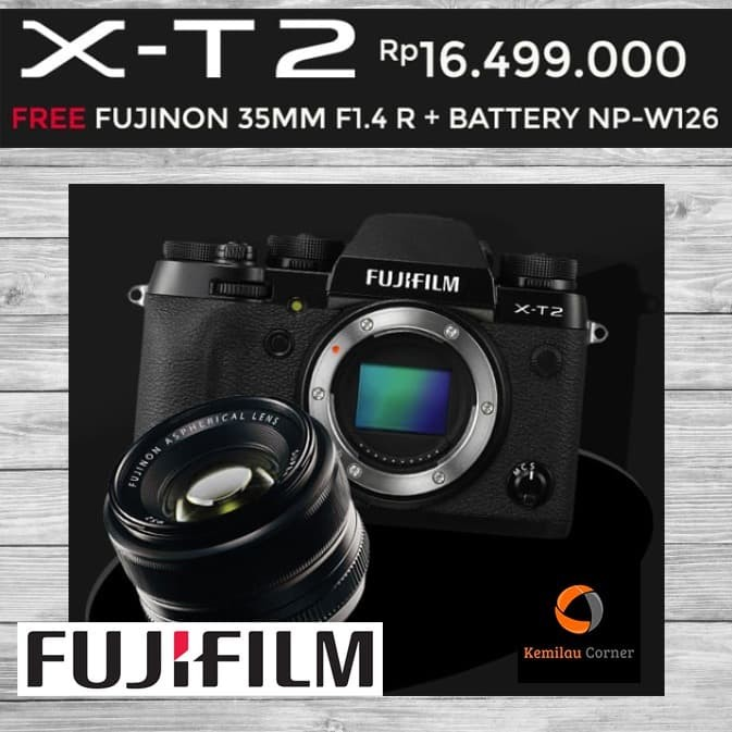 harga Fujifilm x-t2 body only black promo bonus lensa 35 f/1.4 + baterai Tokopedia.com