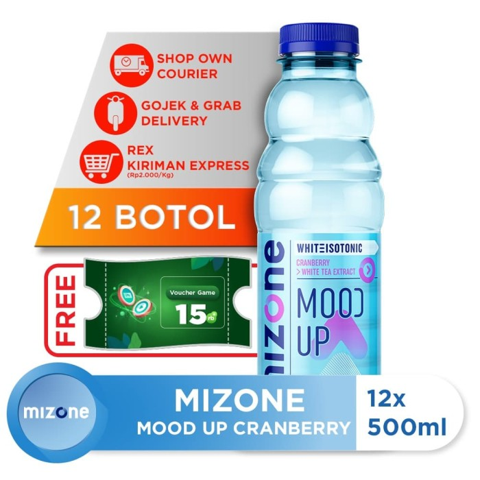 harga Mizone isotonik bernutrisi mood up cranberry 500ml (12 botol) Tokopedia.com