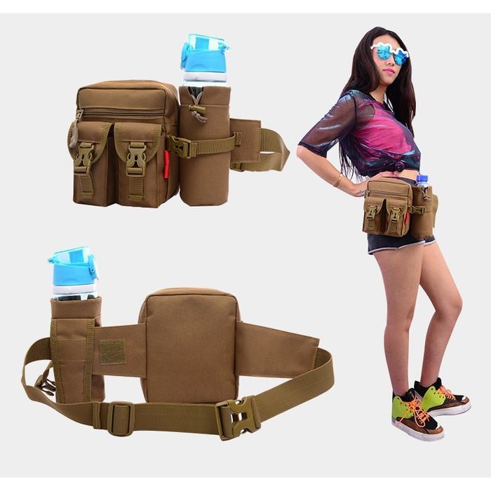 Foto Produk Tas Pinggang Dengan Tempat Botol Tactical Army B321 - Cokelat Muda dari Raja OB