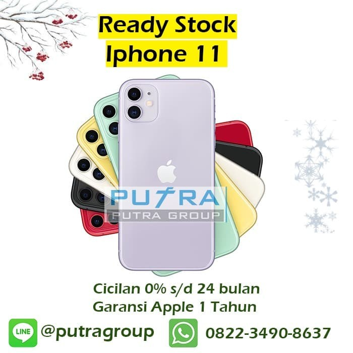 Foto Produk (DUAL SIM) iPhone 128GB / 128 11 - Black Green White Yellow Purple Red - Black dari Putra Group