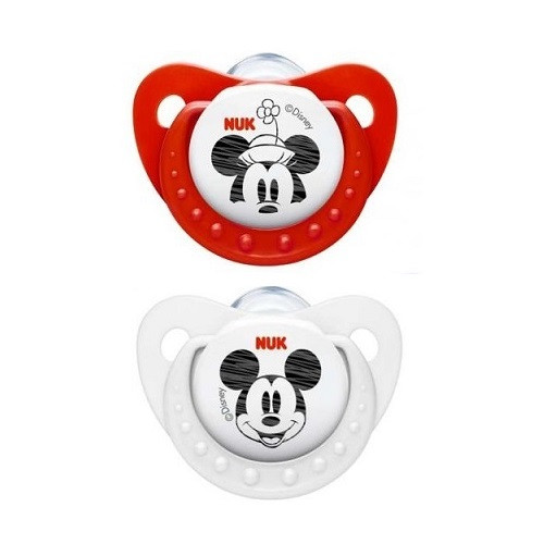Nuk mickey silicone soother 2pk 0-6 month - merah putih