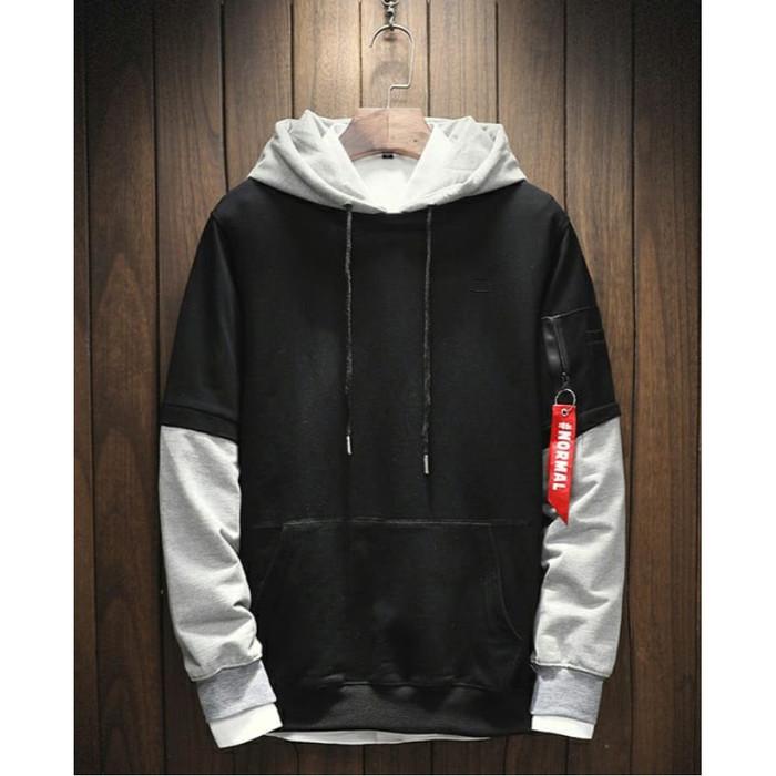 Fortklass daniel sweater hodie rajut pria variasi list outerwear cowok - hitam