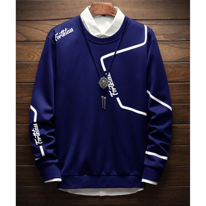 Fortklass zyon sweater hodie rajut pria variasi list outerwear cowok - hitam
