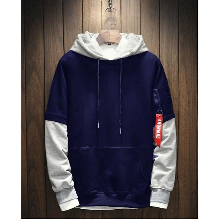 Fortklass daniel sweater hodie rajut pria variasi list outerwear cowok - navy