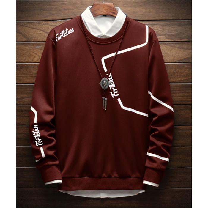 Fortklass zyon sweater hodie rajut pria variasi list outerwear cowok - maroon