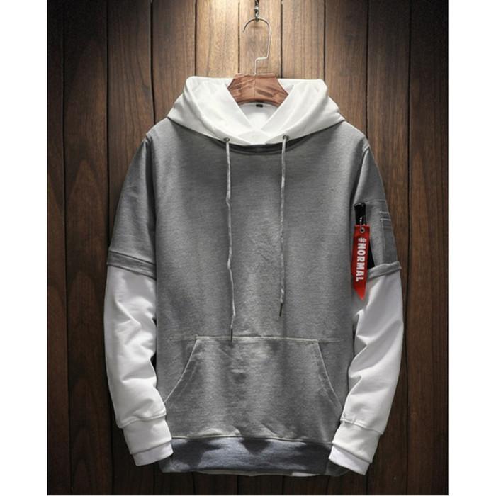Fortklass daniel sweater hodie rajut pria variasi list outerwear cowok - putih