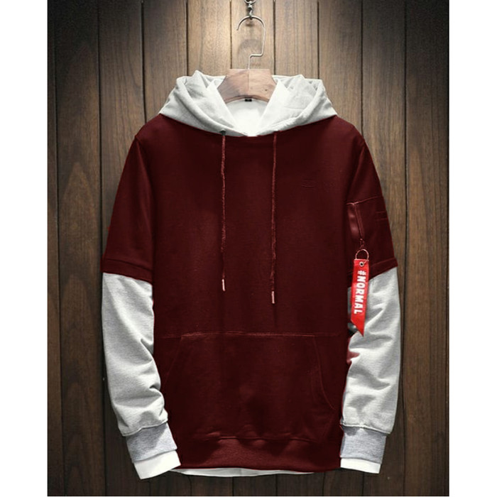 Fortklass daniel sweater hodie rajut pria variasi list outerwear cowok - maroon