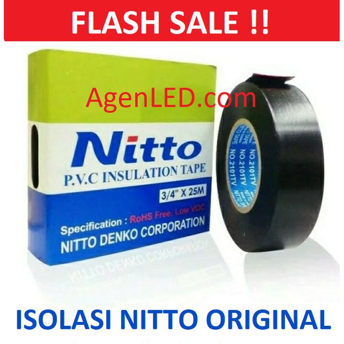 "Foto Produk NITTO ISOLASI LISTRIK ORIGINAL Tape Hitam PVC kabel nito 3/4"" 25M ASLI dari AgenLED"