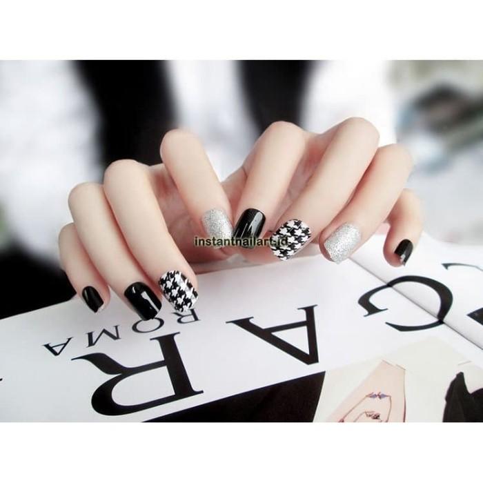 Nail Art Untuk Kulit Hitam: Jual YT-052 Houndstooth Black White Silver Nail Art Kuku