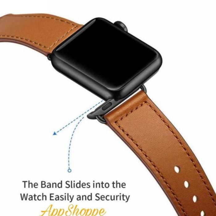 Foto Produk Apple Watch Leather Strap Kulit Asli Series 4 3 2 1 Size 38 42 40 44mm dari mairastore502