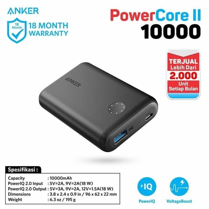Anker powercore ii gen 2.0 10000 mah quick charge 3.0 powerbank