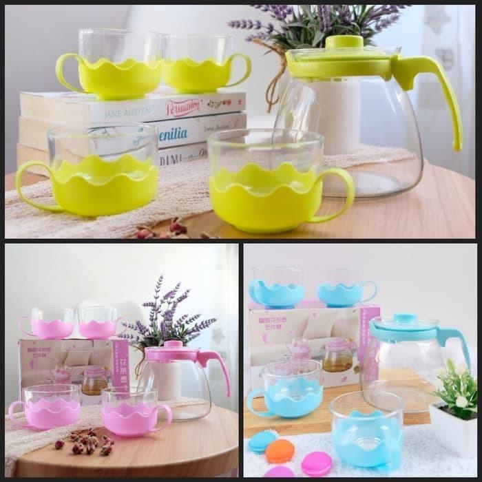 Foto Produk Tea Pot Set 5 in 1 Tempat Minum Teh Teko Set Cangkir Kaca Teapot Kadoh - Merah Muda dari Grosir Kitchenware