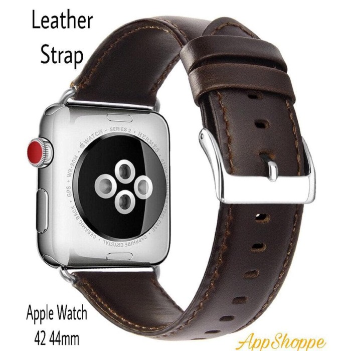 Foto Produk Apple Watch 42 44mm Genuine Cowhide Leather Strap Series 1 2 3 4 dari teukustore531