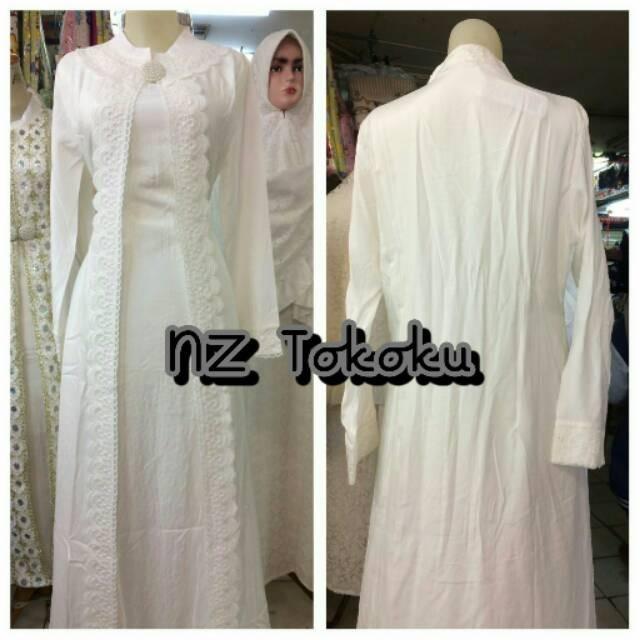 Jual Baju Gamis Putih Muslim Brokat Untuk Lebaran Umroh Pesta Dll Jakarta Barat Supermall88 Tokopedia