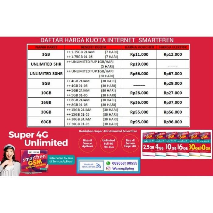 Jual Daftar Harga Kuota Internet Smartfren 4g Gsm Kab Kendal Uping Store Tokopedia