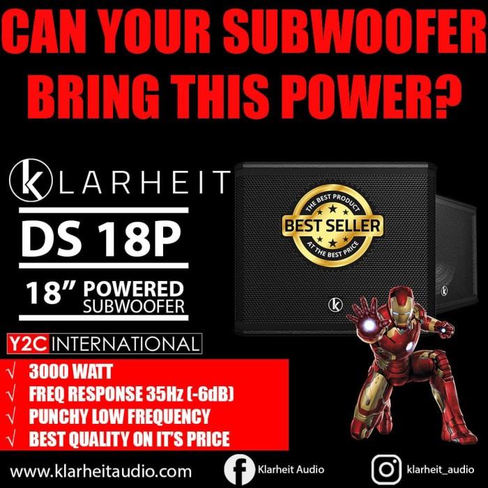 "Foto Produk Klarheit Powered Subwoofer DS18P 18"" 3000 watt 35hz (-6dB) dari Y2C INTERNATIONAL"