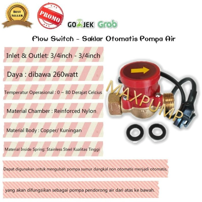 harga Flow switch 3/4  - 3/4  (otomatis pompa booster) - otomatis pompa air Tokopedia.com
