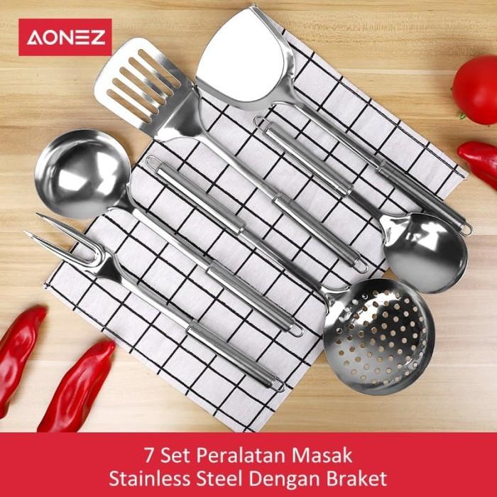 Aonez spatula alat masak stainless 7set peralatan dapur set spatula