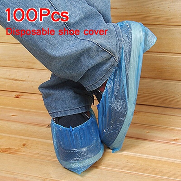 100PCS Waterproof Boot Cover Plastic Disposable Hospitality Medical Shoe Covers