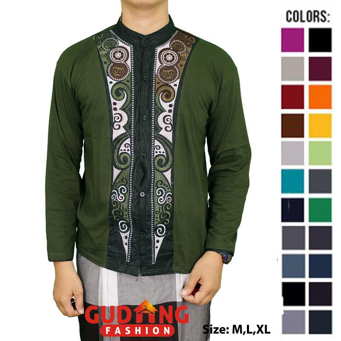 Baju koko motif bordir lengan panjang katun hijau tua – kkl 59 - hijau l