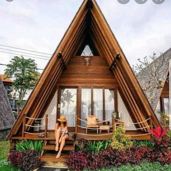 Jual Rumah Kayu Segi Tiga Atap Unik Kab Jepara Rumah Kayu Gazebo Tokopedia
