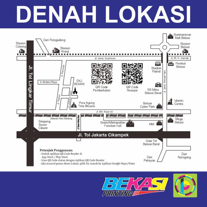 Foto Produk Design Peta / Denah Undangan + QR Code Digital Waze / Google Maps dari Bekasi Printing