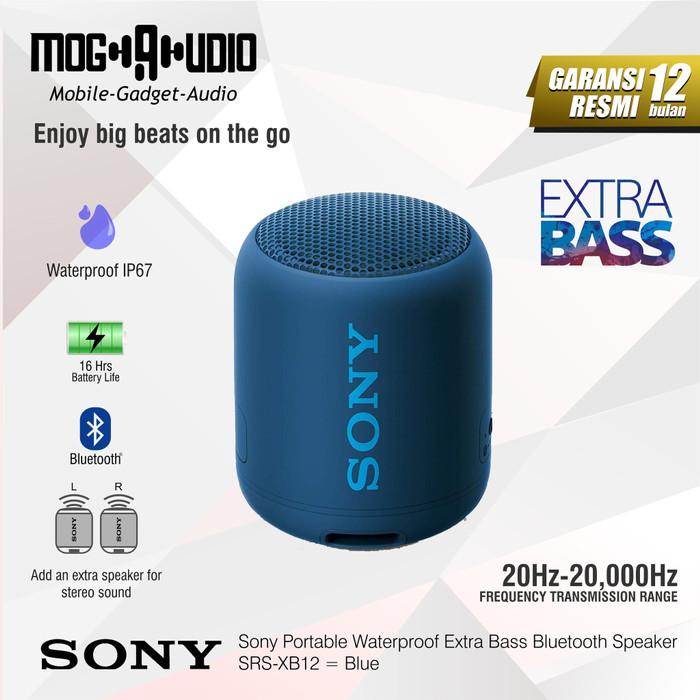 Foto Produk Sony SRS-XB12 / XB 12 Portable Waterproof Extra Bass Bluetooth Speaker - Biru dari Mogaudio