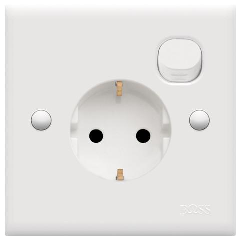Foto Produk BOSS B15/16S 16A 250V schuko socket outlet w/ switch & safety shutter dari citraamantosa