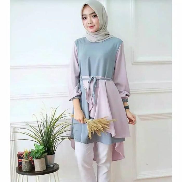 Foto Produk Inaka Long Top   Atasan Muslim Tunik   Best Seller !!! - Pink dari kunx.shop