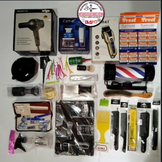 Foto Produk paket hemat alat cukur rambut + lampu barber pole sisir dan gunting dari peralatan CUKUR