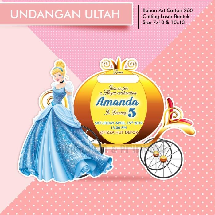 Jual Undangan Ultah Ulang Tahun Anak Lucu Murah Cinderella Die Cutting 7x10cm Kab Bogor Cibidesign Tokopedia