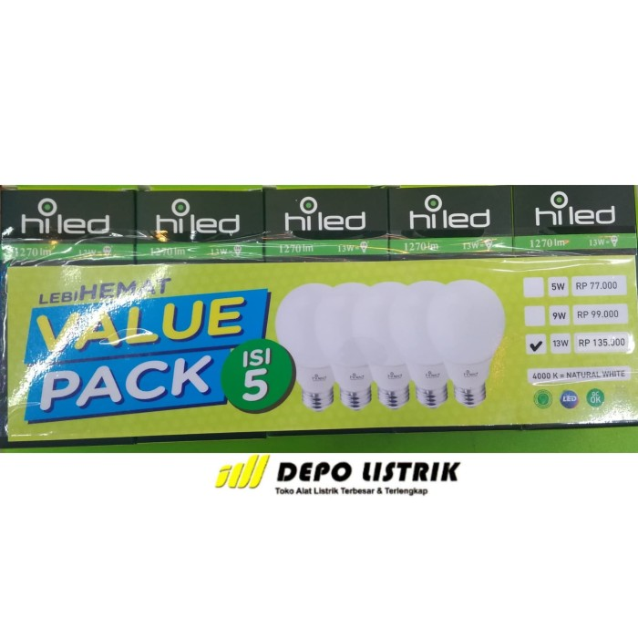 harga Hiled lampu led 13w 4000k value pack isi 5 pcs Tokopedia.com