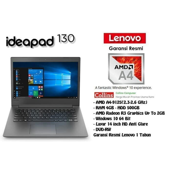 Jual Laptop Lenovo Ideapad 130 Amd A4 9125 Ram 4gb Hdd 500gb Windows 10 Jakarta Barat Sky Computindo Tokopedia