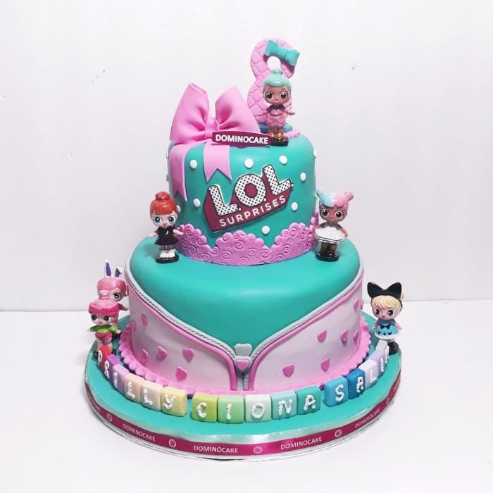 Jual Kue Ulang Tahun Kue Ulang Tahun Tema Lol Fondant Cake Tingkat Jakarta Timur Dominocake Catering Tokopedia
