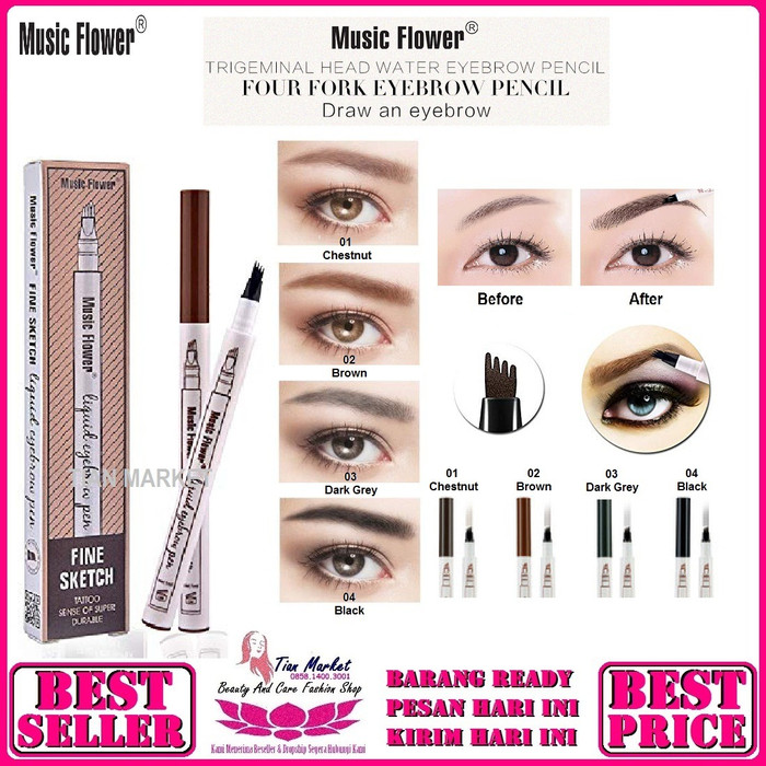 Jual Henna Alis Kab Bogor Nouna Beauty Store: Jual Eyebrow Waterproof 4 Head Music Flower / Pensil Alis