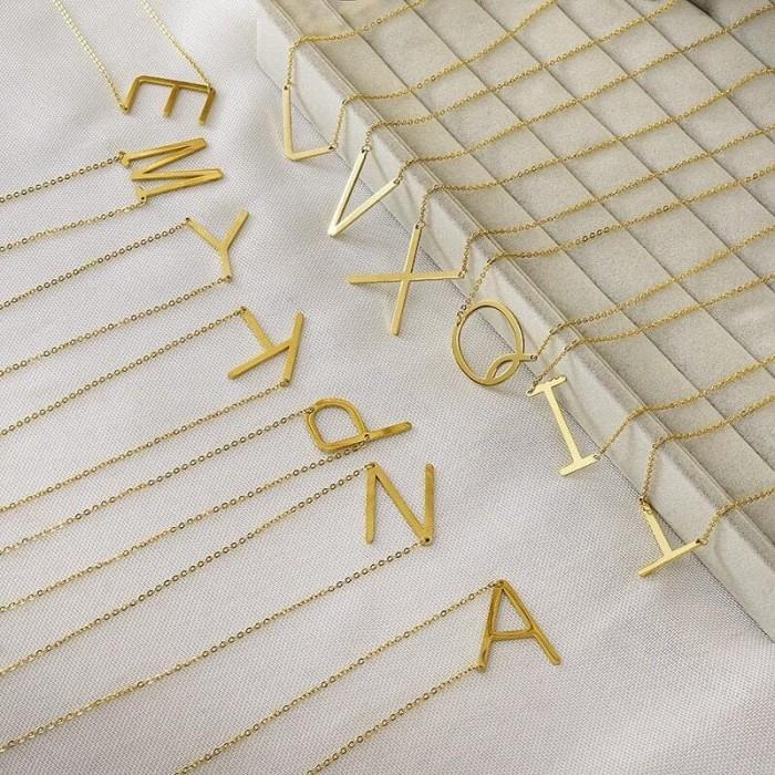 Foto Produk Kalung huruf surat Titanium sederhana kalung Emas Fashion kalungwanita dari yuhai_0055