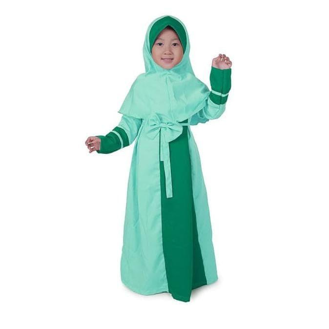 Foto Produk Baju Muslim Anak Murah Pita Cantik Mint dari kinshoppp