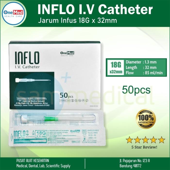 Foto Produk Onemed Inflo Iv Catheter 18g X 32mm / Jarum Infus @Pcs dari SAM Medical