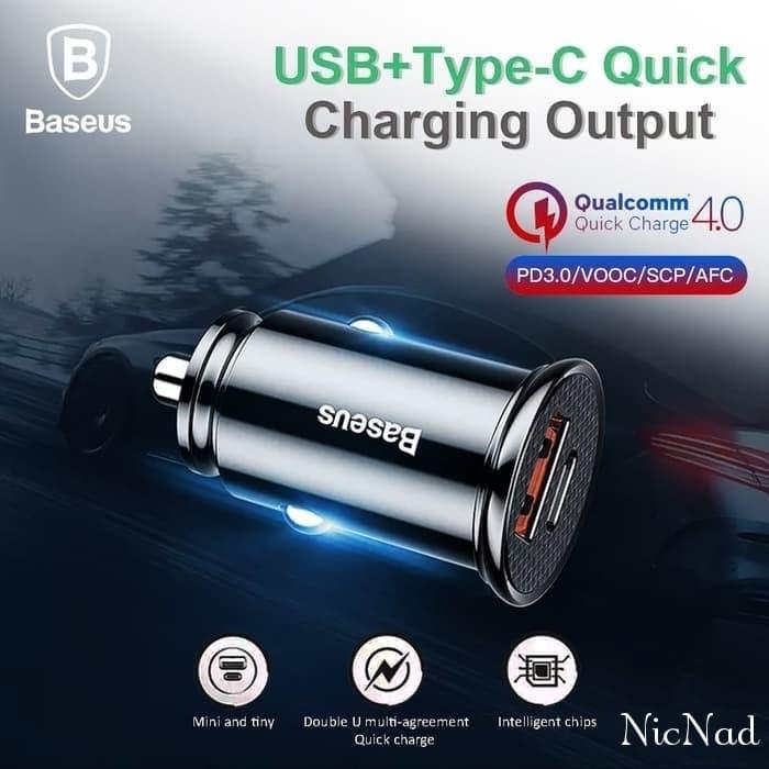 Foto Produk Baseus Car Charger Quick Charge 30W QC 4.0 Type-C PD 3.0+USB Original - Hitam dari NicNad Digital Store